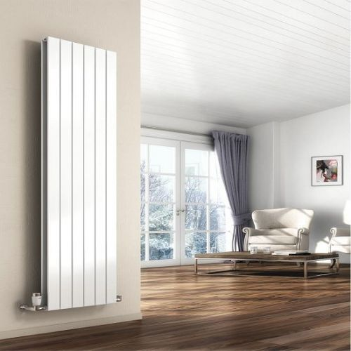 Reina Flat Round Double Panel Horizontal Designer Radiator - 1402mm Wide X 600mm High - White